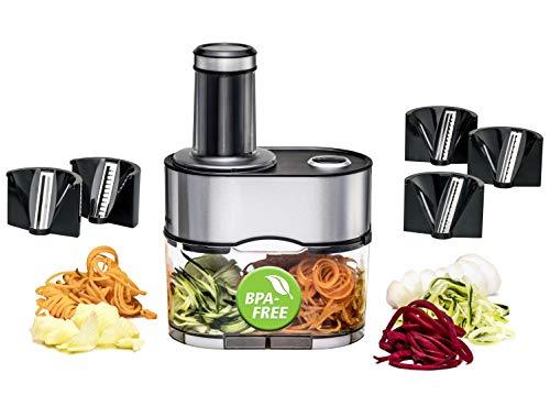 ROMMELSBACHER Spiralschneider EGS 80 - 5 Messereinsätze für verschiedene Gemüsenudeln, 2,5 Liter Auffangbehälter, großer Einfüllschacht, 2-fach Sicherheitssystem, komplett zerlegbar, Edelstahlgehäuse