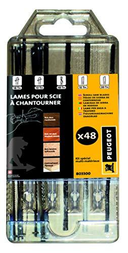 Peugeot Outillage 803300 Kit de 48 scie à chantourner Comprenant Goujons 18tpi et 6 10tpi, Rondes ø 0,88, Embouts Plats universelles 12tpi et 12 Lames 20tpi
