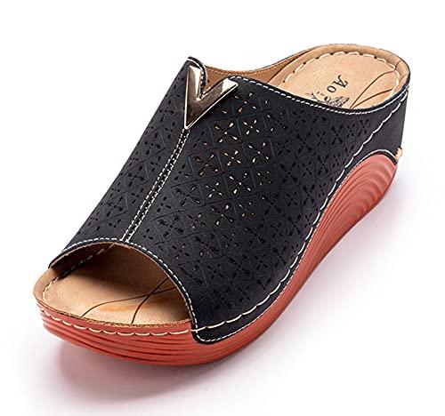 Zuecos Cuero para Mujer Sandalias de Cuña con Punta Abierta Zapatos de Plataforma Verano Negro A 37 EU (Tamaño de la etiqueta 38)