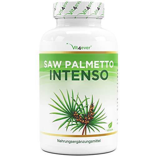 Saw Palmetto Extrakt - 180 Kapseln mit 500 mg Extrakt - Premium: 5% Phytosterole = 25 mg - Hochdosiertes Sägepalmextrakt - Laborgeprüft - Ohne unerwünschte Zusätze - Vegan