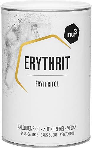 nu3 Erythrit Zucchero Eritritolo 750 g - Dolcificante Senza Calorie + Indice Glicemico Zero - Sweetener Sostituto Zucchero per Diabetici/Celiaci - Grana Grossa