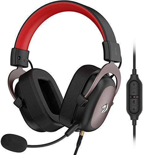 Redragon H510 Zeus Wired Gaming Headset - 7.1 Surround Sound - Memory Foam Ear Pads - 53MM Drivers - Detachable Microphone - Multi Platforms Headphone - Works with PC/PS4 & Xbox One, Nintendo Switch