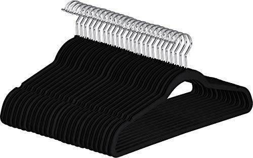Utopia Home (Pack of 50 Premium Non Slip Velvet Hangers - 360-degree rotatable Hook - Durable & Slim - Coat Hangers - Pant Hangers - Black