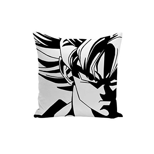 Fabulous Funda de Cojín Dragon Ball Super Son Goku Blanco y Negro Super Saiyan Anime Manga Japón 40x40cm