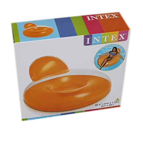 INTEX aufblasbarer Sessel Schwimmsessel Schwimmring Reifen Wasser Pool Spielzeug, Farbe:Orange