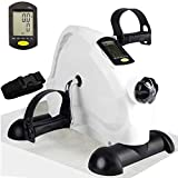 Hausse Portable Exercise Pedal Bike for Legs and Arms, Upgrade Under Desk Bike Pedal Exerciser, Mini Exercise Peddler with Large LCD Display, White