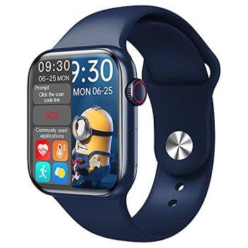 hanyumaoyi Call Bluetooth Bouton Rotating Bouton Split-Écran Informations de Surveillance de la fréquence Cardiaque Push-Power Smart Watch (Color : Blue)