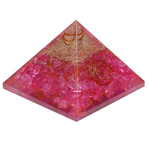 Aatm Energy Generator Pink Clear Crystal Orgone Pyramid for EMF Protection Chakra Healing Meditation with Copper (3 and 3 Inches)