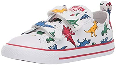Low-top infant sneaker with canvas upper Double hook-and-loop closure for easy on and off Terry cloth insole for comfort Allover dinosaur print SmartFOAM sockliner for comfort