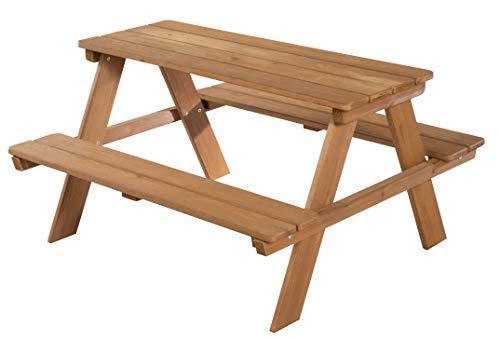 roba Kinder Outdoor + Sitzgruppe \'Picknick for 4\', wetterfeste Sitzgarnitur für drinnen und draußen aus Massivholz in Teakholz-Optik, besonders stabil und langlebig