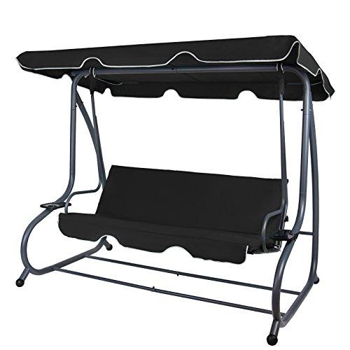 BB Sport 4-Sitzer Hollywoodschaukel Gartenschaukel klappbar mit Bettfunktion mit Sonnendach und Liegefunktion für 4 Personen, Farbe:Titanschwarz