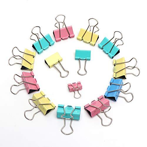 Foldback Binder Clips Metallo Office Clips per Ufficio, per Casa, Ufficio o Scuola Colori assortiti 60 pezzi