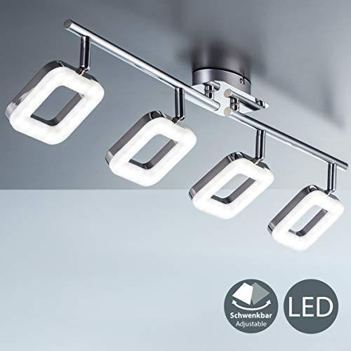 LED Deckenleuchte I 4 flammige Deckenlampe 4x 4W I dreh- & schwenkbar I eckige Platinen I Deckenstrahler I IP20