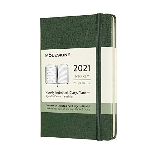 Moleskine - Agenda Semanal 2021, Agenda de 12 Meses con una Semana por Página, Tapa Dura, Tamaño de Bolsillo de 9 x 14 cm, Color Verde Mirto, 144 Páginas