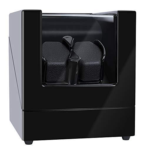 Kalawen Uhrenbeweger fur Automatikuhren 2 Uhren Watch Winder für alle Automatikuhren Mechanischen Uhren mit Wechselstromadapter oder batteriebetrieben Schwarz