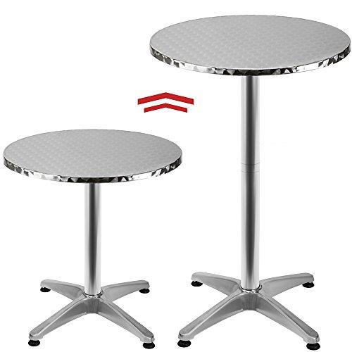 Deuba Tavolo alto da bar alluminio 60cm 2 altezze 70 - 115cm tavolino alto bistro pub feste...
