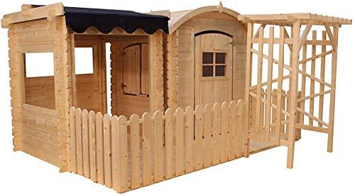 TIMBELA M505+M080M Holzhaus mit Unterstand und Terrasse - Gartenhaus für Kinder - zur Verwendung im Freien, H145 x 239 x 231 cm, 1.1 m² + 0.88 m²