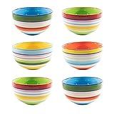 CREOFANT Lot de 6 bols à céréales multicolores - Bols à fruits, soupe, glace, ramen, Bols colorés en céramique