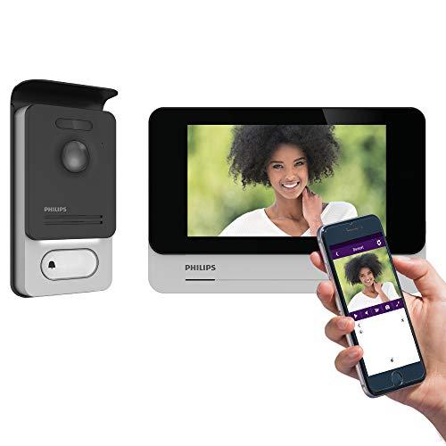 Philips - Visiophone - WelcomEye Connect 2, Visiophone connecté au smartphone, Contrôle d'accès RFID, Fonction message d'absence Visiteurs, Fonction intercommunication et monitoring - 531036