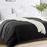HOMBYS Queen Down Alternative Reversible Comforter -Grey/Black Lightweight Summer Hypoallergenic Tabs Duvet Insert - Machine Washable- Breathable Quilted Bed Comforters Blanket(Queen,Black/Gray)
