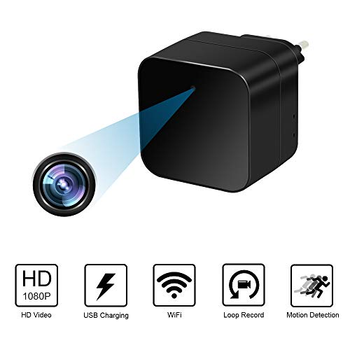 Telecamera Nascosta Telecamera Spia WiFi Spy Cam Caricatore USB 1080P TANGMI Microcamere Spia Rilevazione del Movimento Videocamera di Sorveglianza Controllo APP