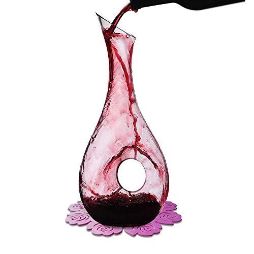 WOQO Vino Decanter, 1.2L Caraffa Vino, Vino Decantare di Cristallo Bicchiere, Decanter per Vino E Simpatico Sottobicchiere, Vino Accessori Regalo di Vino
