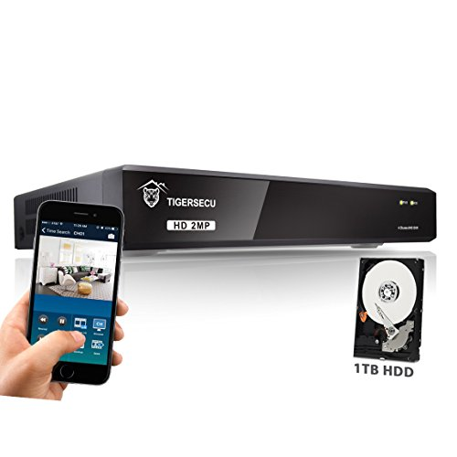TIGERSECU Super HD 1080P (5MP Lite) H.265+ 4-Channel Hybrid 5-in-1 DVR NVR Security Video Recorder with 1TB Hard Drive, Supports Analog and ONVIF 2.0+ IP Cameras (Cameras Not Included)