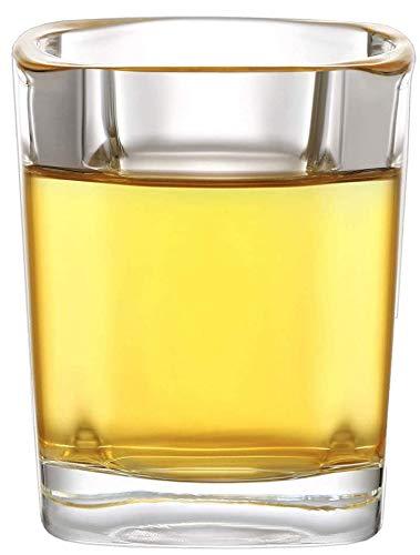 12 Bicchieri da Shot di Vetro Quadrati - 4 cl - Con Base Stabile - Lavabile In Lavastoviglie - Bicchierini Amaro, Liquore