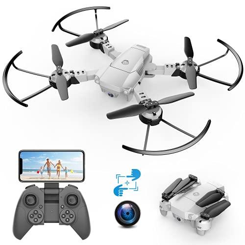 A10 720P Mini Drone con Telecamera HD Pieghevole FPV Controllo Vocale, Controllo Gesti, Volo Traiettoria, Volo Circolare, Rotazione ad Alta Velocit, 3D Filp, Sensore G, Modalit Senza Testa