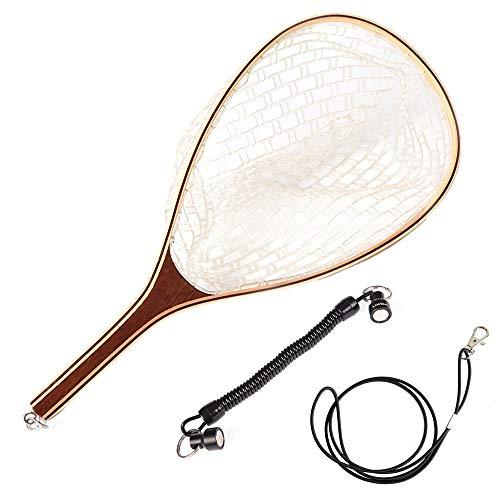 Lixada Guadino in Legno 60cm Portatile Leggero con Cordino a Spirale Magnetico 15-85cm per la Pesca a Mosca Pulizia dello Stagno