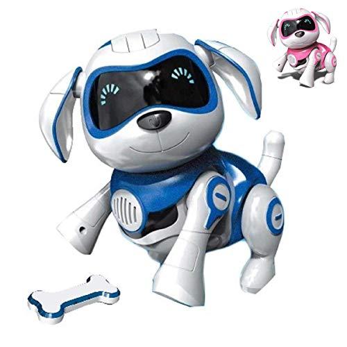 RCTecnic Chien Robot Rock Chien Jouet Interactif avec Emotions et Mouvement, Abois et Jeux avec Son Os, Batterie Rechargeable et Câble USB Très Résistant et Drôle (Bleu)