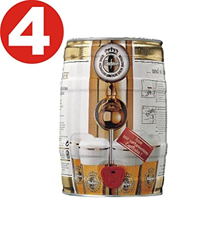 4 x Warsteiner Pils 5L barril de 4,8% vol.