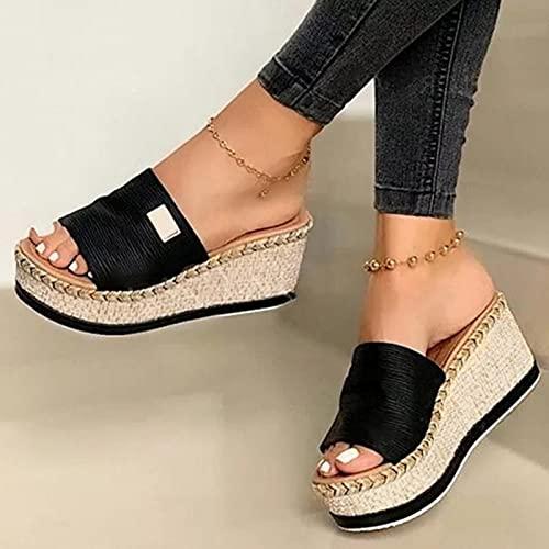 DZQQ Zapatillas de cuña de Verano, Zapatillas de Plataforma de tacón Alto para Mujer, Zapatos de Exterior para Mujer, Sandalias de cuña de Zueco básico, Sandalias con Chanclas