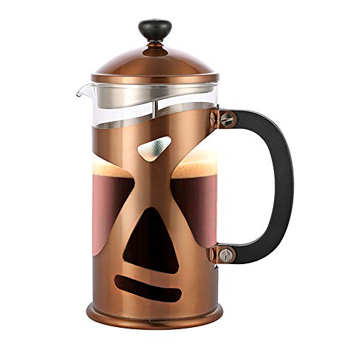 Highwin 8-Cup Dual-Filter French Press Coffee Maker, 34 Ounce Press Pot Cafetiere, Stainless Steel Coffee Plunger, Copper