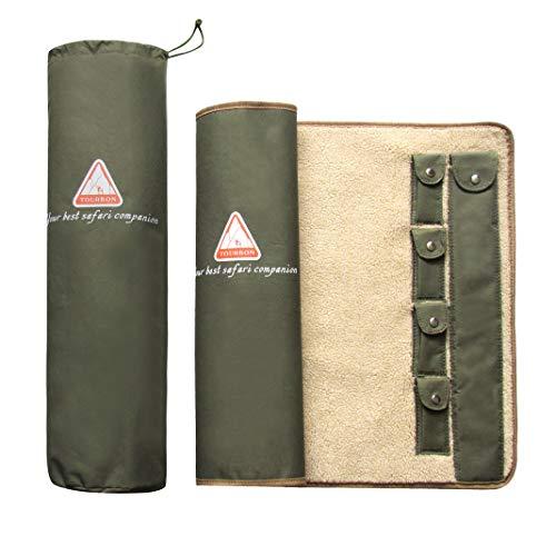 Tourbon Gun Rifle Roll-up Cleaning MAT Pad Shooting Hunting Gun Tool Kit Fleece Lined