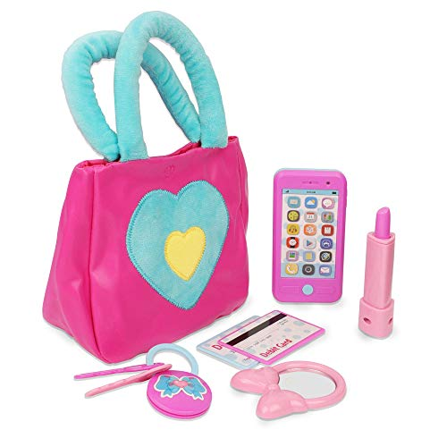 41Sz4edw+fL COMPLETE PURSE: This Playkidz purse set is the perfect purse to take to the ball, or the ballgame, it includes everything your child needs for their first pretend play purse set. COOL ACCESSORIES: Pink purse filled with realistic accessories sized perfectly for small hands. Includes soft bag, phone, keys, lipstick, and much more. REALISTIC DETAILS: All fun with none of the mess! All princess accessories look just like the real thing, and this girls purse has all essentials that mom would usually carry