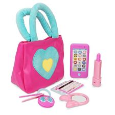 41Sz4edw+fL ROLE-PLAYING FUN. Girls love princess toys and to imitate their moms. With this Litti Pritti My First Purse Set, you can let your little one enjoy some role-playing fun as she pretends to be a shopping mom just like you. COMPLETE SET. The stylish little girl's purse comes with everything a little one needs as she heads out to the store. Inside, she will find a wallet, cellphone, lipstick, face powder, 4 keys on a key ring, car key, ID card, play money and 3 credit cards. STYLISH PURSE. Store all accessories inside the kid's purse when going on a shopping spree. Furnished in magenta and white, the vegan leather purse closes shut with a gold zipper, and is equipped with carry handles and a shoulder strap for easy transport.