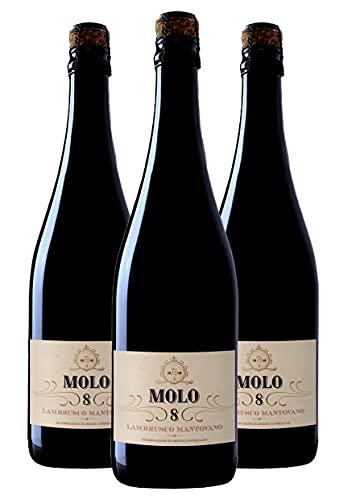 Molo 8 Lambrusco Mantovano - Vino Lombardo Rosso Frizzante - DOC - 0.75L (3 Bottiglie)