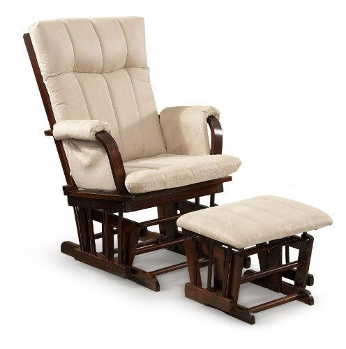 Artiva USA Home Deluxe Mocha Microfiber Cushion Cherry Wood Glider Chair and Ottoman Set, 41'H, Model: