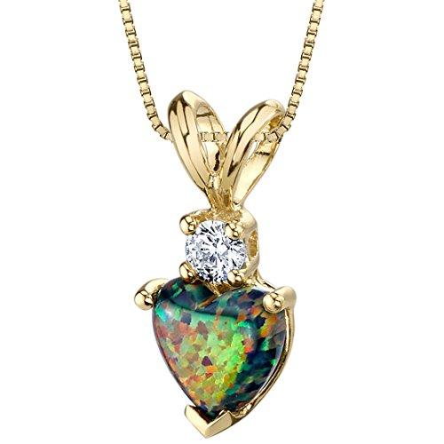 Peora Created Black Opal with Genuine Diamond Pendant in 14...