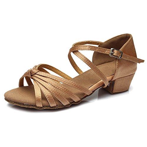 YKXLM Mujeres&Niña Zapatos latinos de baile Zapatillas de baile de salón Salsa Tango Performance Calzado de Danza,ES203,Beige,EU 39