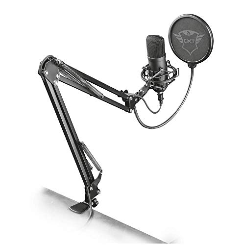 Trust Gaming GXT 252 Emita Plus Microfono USB Professionale a Condensatore con Braccio Regolabile per PC, PS4 e PS5, per Streaming, Nero