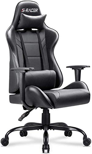 Homall Gaming Office Chair Computer Chair High Back Racing Desk Chair PU Leather Adjustable Seat Height Swivel Chair Ergonomic Executive Chair with Headrest for Adults (Black)