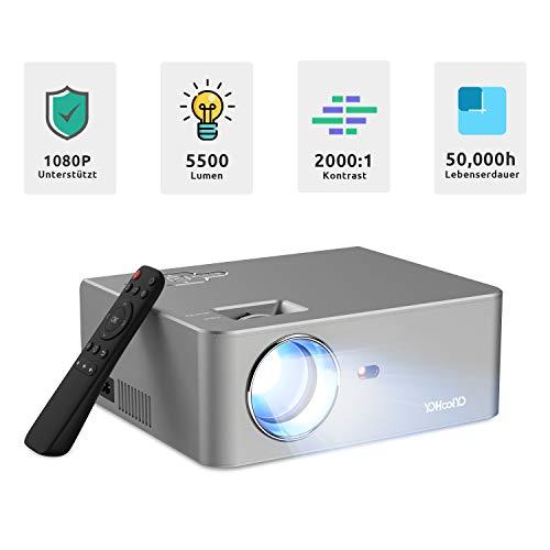 YOHOOLYO Mini Beamer Full HD Unterstützt 1080P 5500 Lumen Projektor mit 2 USB / 2 HDMI / Audio Out / VGA Anschlüsse