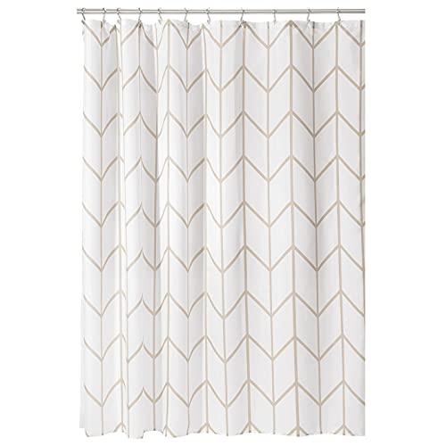 mDesign Decorative Modern Geometric Herringbone Print Shower Curtain -...