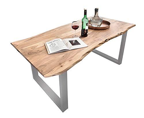 SAM Baumkantentisch 120x80 cm Quarto, Esszimmertisch aus Akazie, Holz-Tisch mit Silber lackierten Beinen
