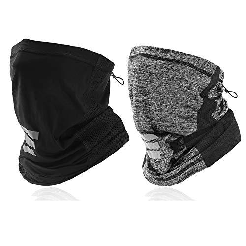 LANVO Neck Gaiter, UV Protection Face Cover, Dust Balaclava Bandana Headband for Outdoor Running, Hiking, Cycling, Skiing, Fishing (2Packs - Black+Grey)