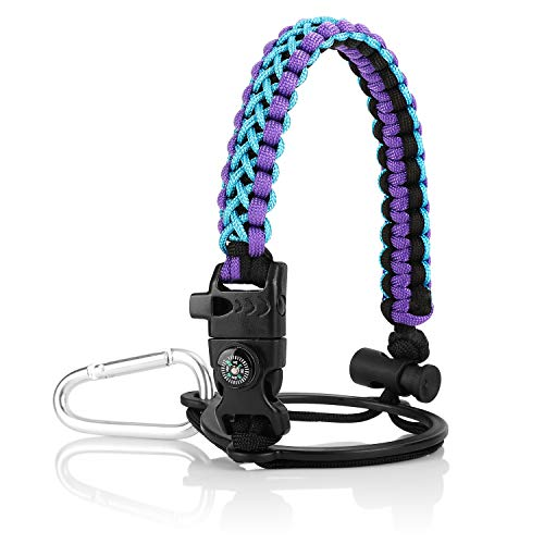 Water Bottle Handle for Hydro Flask and Other Wide Mouth Bottles, Paracord Strap Carrier for 12oz to 64oz Bottle, Bottle Accessories with Fire Starter Compass Safety Ring and Carabiner (Blue+Purple)