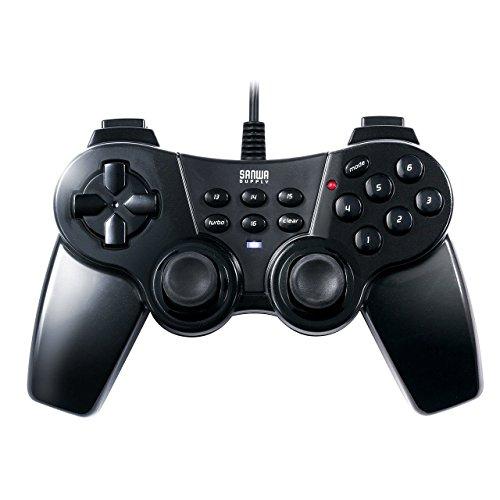 サンワダイレクト USBゲームパッド 16ボタン 全ボタン連射対応 振動 高耐久ボタン(日本メーカー製) ブラック 400-JYP62UBK