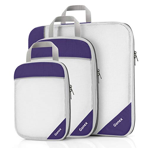Gonex Packing Cubes, Travel Packing Organizers Compression Pouches L+M+S Purple